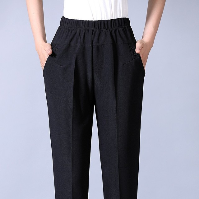 Autumn Winter Middl Aged Women Warm Velvet Elastic Waist Casual Straight Pants Female Trousers Plus Size Clothing