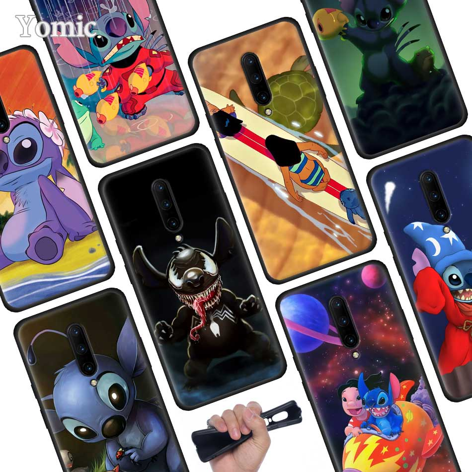 cute cartoon Lilo Stitch Black Soft Case for font b Oneplus b font font b 7