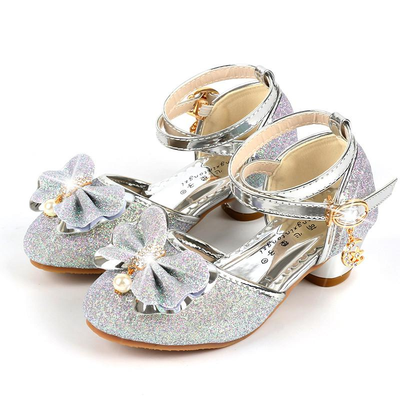 New Girls Princess Shoes Children High Heels Pearl Bow Leather Sandals Glitter Dance Dress Weddings Party Kids Fashion Sequins