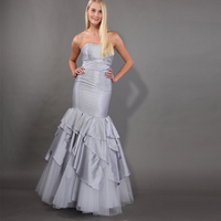 Simple Elegant Prom Dresses Mermaid Style Strapless Formal Party Dresses Tiered Skirt 2019 Silver Woman Prom Long Dresses Custom