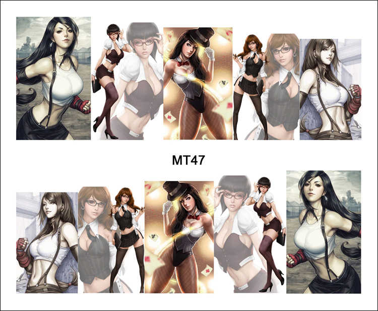 1 Lembar Nail MT47 Besar Dada Kantor Gadis Sexy Kartun Lady busana Kuku Stiker Decal Untuk Nail Art Dekorasi