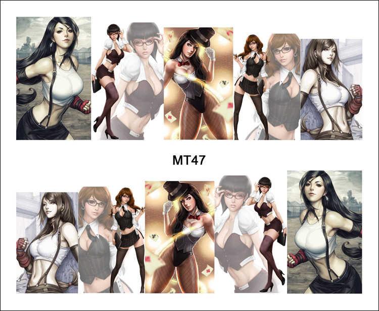 1 sayfalık Tırnak MT47 Büyük Göğüs Ofis Kız Seksi Karikatür Bayan Moda Tırnak Sanat Su Transferi Sticker Çıkartması Tırnak sanat Dekorasyon
