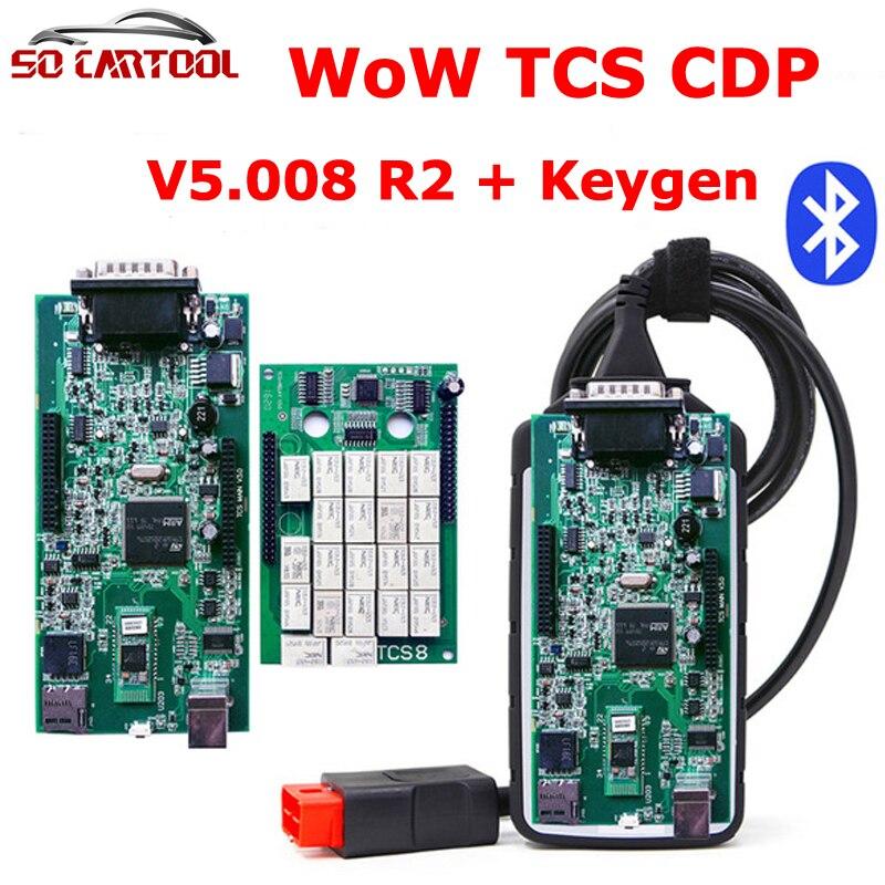 5 шт./лот новые V5.008 R2 WOW TCS CDP с кейгена + <font><b>Bluetooth</b></font> OBD2 инструмент диагностики лучше, чем TCS CDP PRO DHL Бесплатная
