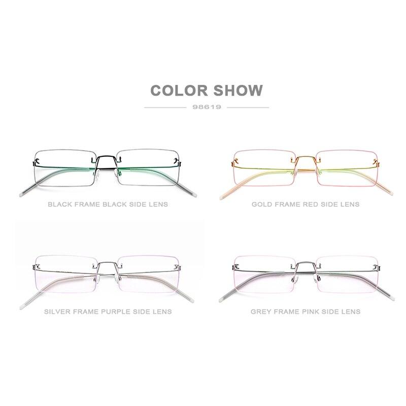 FONEX lunettes sans vis Prescription lunettes femmes 2019 sans monture carré myopie optique coréen titane alliage lunettes cadre hommes - 5