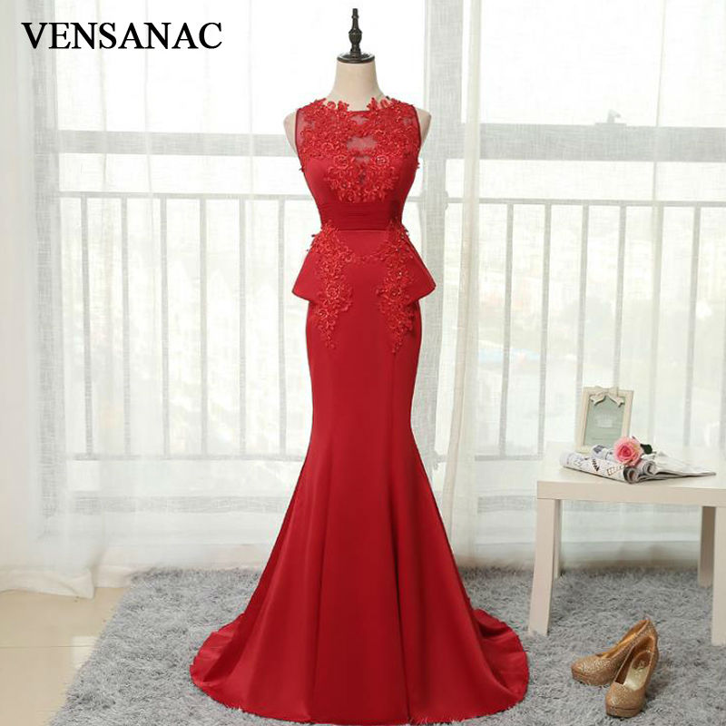 VENSANAC 2017 New Mermaid Sequined O Neck Long   Evening     Dresses   Sleeveless Elegant Lace Embroidery Sweep Train Party Prom Gowns