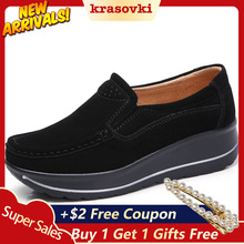 Krosovki Spring Autumn Genuine Leather Women Shoes Platform Slip on Creepers Moccasins Slipony Female Suede Sneakers
