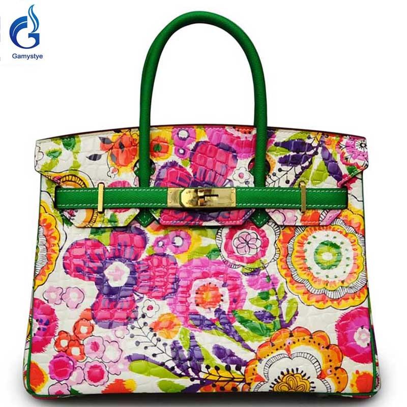 Multi flowers bags GAMYSTYE brand 2016 Women Genuine Leather Handbag Messenger Bags Hand Painted art bags Custom Design tote YG