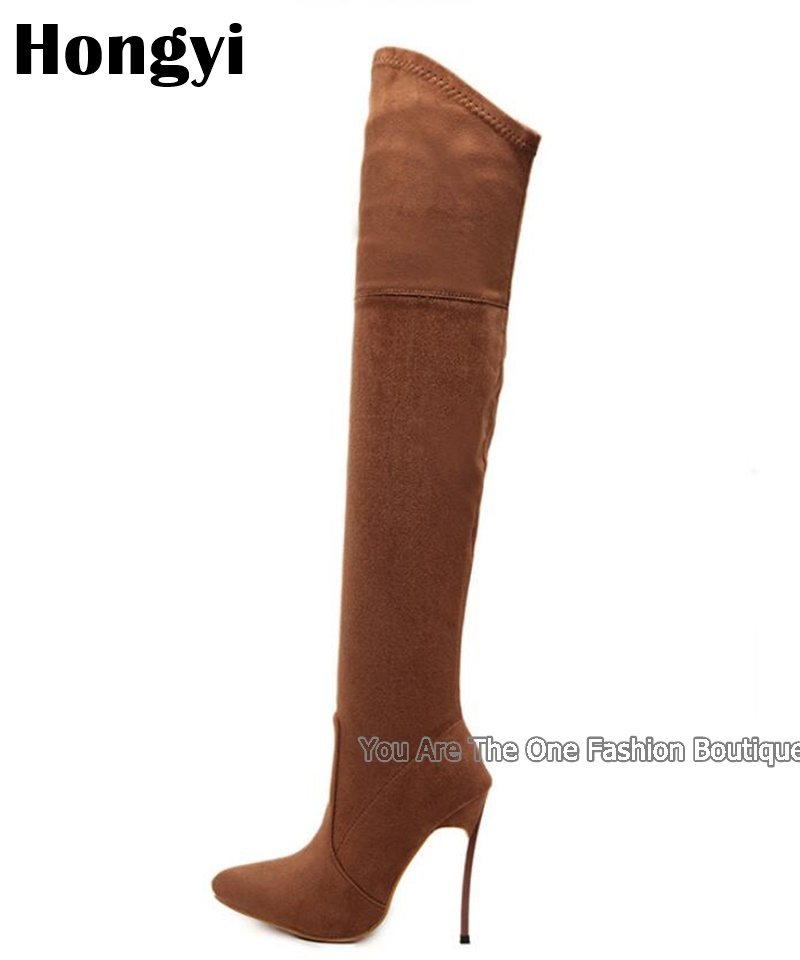 2037cf57bacfa Fashion Winter Stretch Suede Leather Women Over The Knee Long Boots ...