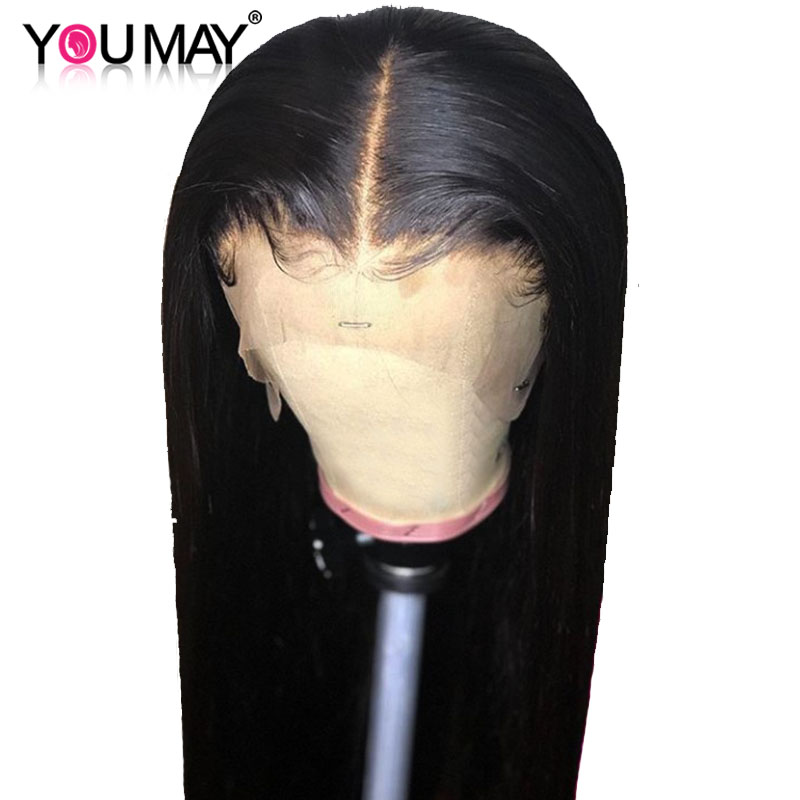 Wigs Human-Hair-Wigs Frontal 360-Lace Straight for Women 150%22.5x7x2 Deep-Parting Pre-Plucked title=