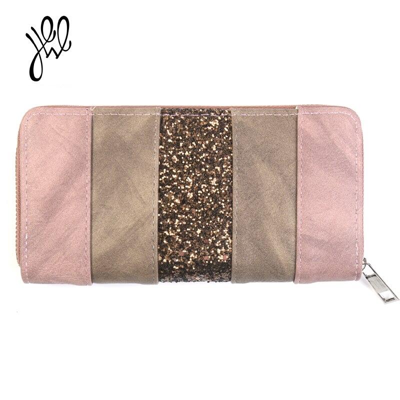2018 neue Frauen Brieftaschen Leder Luxus Marke Lange Brieftaschen Party Kupplung Brieftasche Bling Für Geld Tasche Mode Dame Karte Halter geldbörse