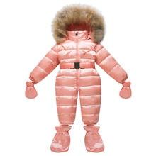 Baby Winter Overalls Newborn Duck Down Rompers Baby Snowsuit Natural Fur Collar Infant Boy Girls Snow Wear Jumpsuit Waterproof