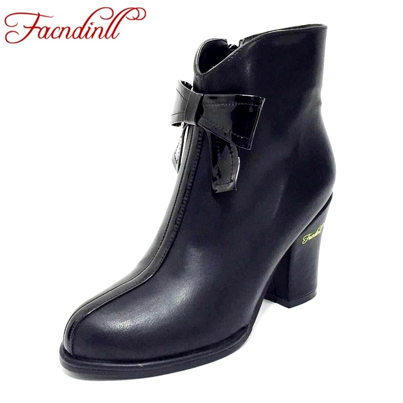 FACNDINLL shoes woman microfiber leather ankle boots lady sexy high heels classic bow-tie dress shoes autumn boots plus size 43 plus size 33 43 2016 soft leather pumps thin high heels ankle boots for women fashion sexy club dress woman motorcycle shoes