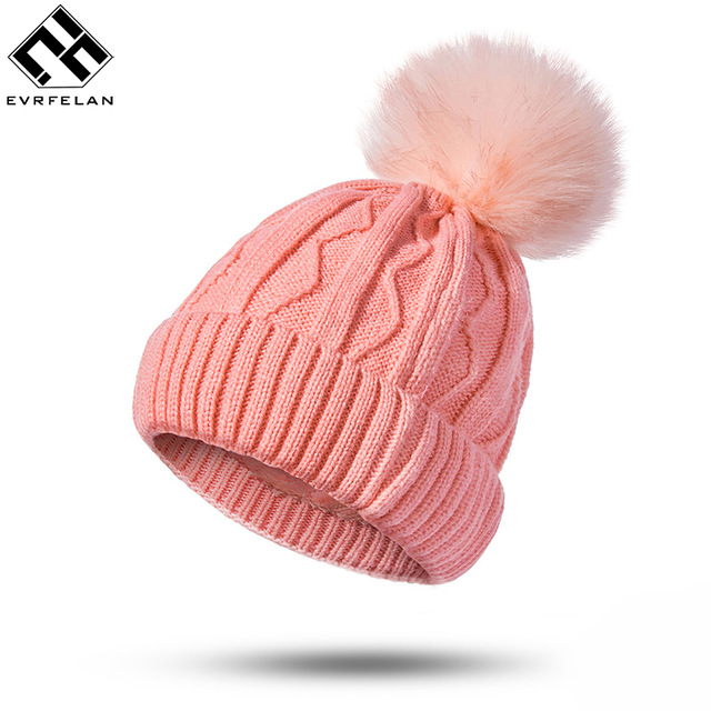 Evrfelan New Women Winter Hat Pompoms Hats Thick Knitted Winter Beanies For Female Fashion Beanies Skullies Women's Gift Hat
