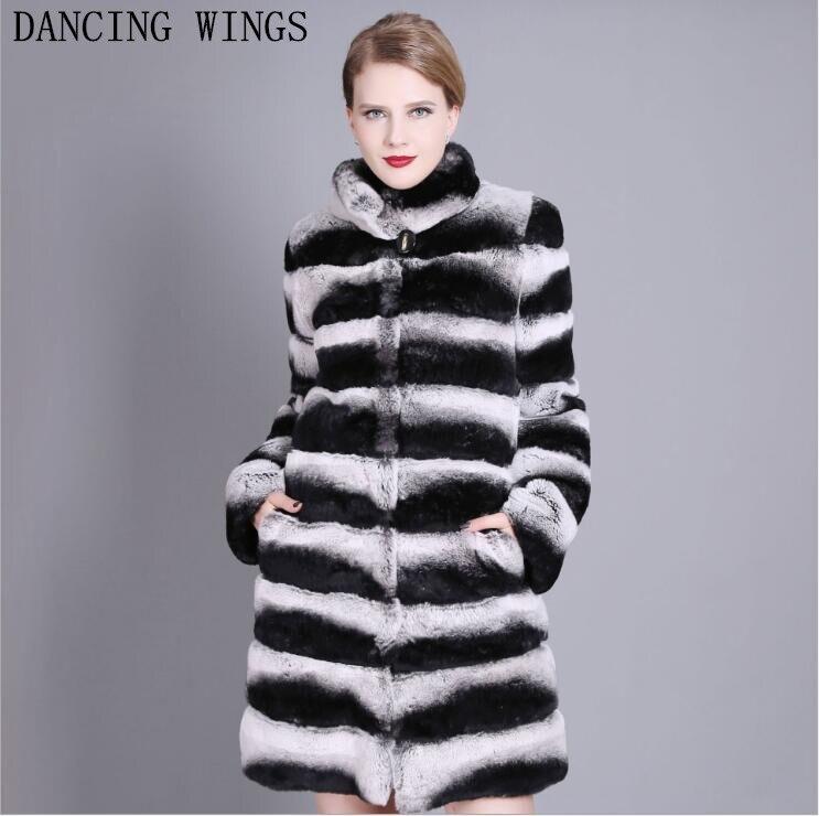 90 см роскошные цельная кожа натуральный Шиншилла меховые пальто стоячий воротник полосатый Женский Настоящий мех кролика длинная куртка зимнее плотное пальто