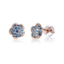 18K Gold Cute Flower Crystal Stud Earring Paved Shiny Austrian Cubic Zirconia Trendy Rose Gold-Color AU750 Jewelry For Women недорого