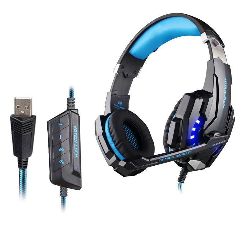 EACH G9000 USB 7.1 Surround Sound channel Gaming Headsets Wired Bass Gamer Headphone With Microphone LED Light For PC Gamer each g8200 gaming headphone 7 1 surround usb vibration game headset headband earphone with mic led light for fone pc gamer ps4