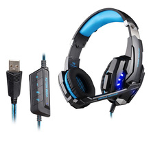 EACH G9000 USB 7.1 Surround Sound channel Gaming Headset Wired Bass Gamer Headphone With Mic LED Light For PC Game