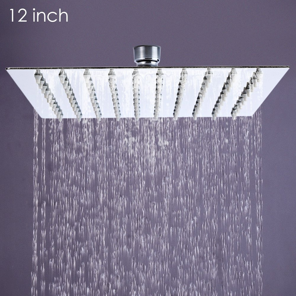 12 Inch Square Stainless Steel Ultra Thin Showerheads Rainfall Shower Head Rain Not Includes Arm In Sprayers From Home Garden On