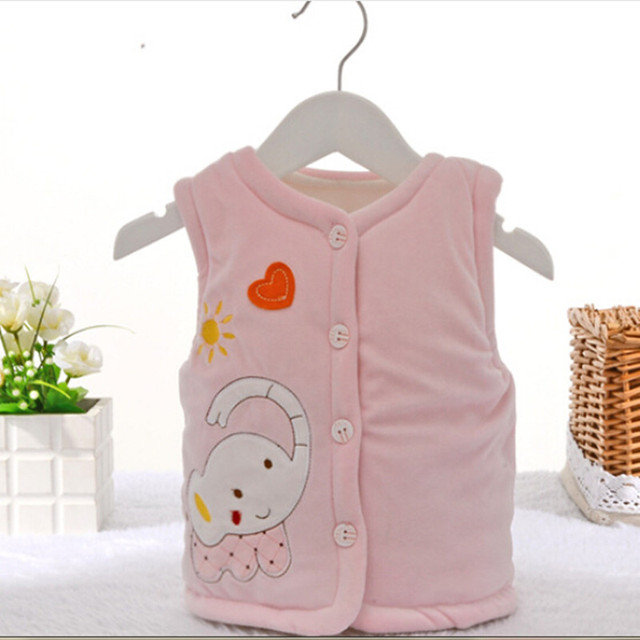 2017 Spring/Autumn/Winter Baby Boy Girl Warm Waistcoat Clothes 3-12 Month Infant Baby Cotton Vest 3 Colors Baby Clothing #zk50