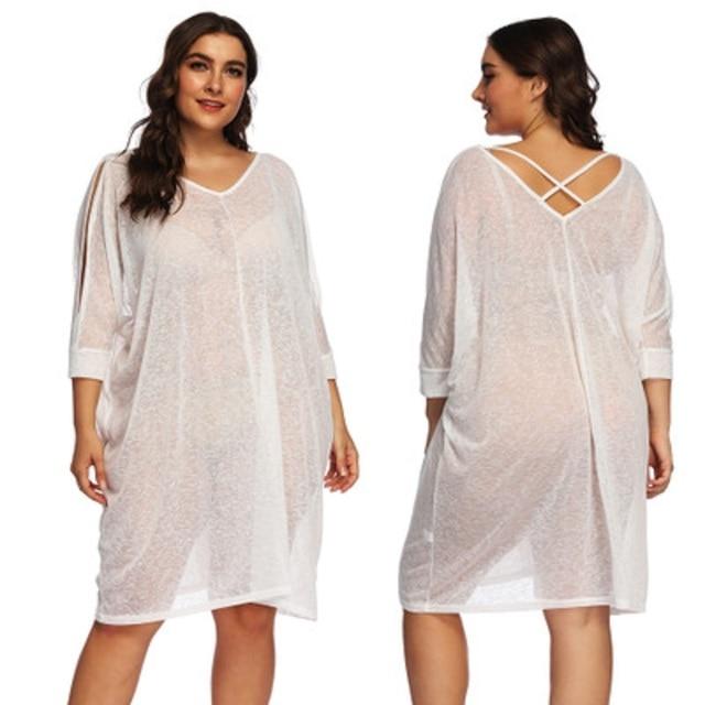 Saida De Praia Beach Dress Tunic Pareos For Women Kaftan New Plus Size Sexy Beach Cover Up Pareo Praia 2 colors 2