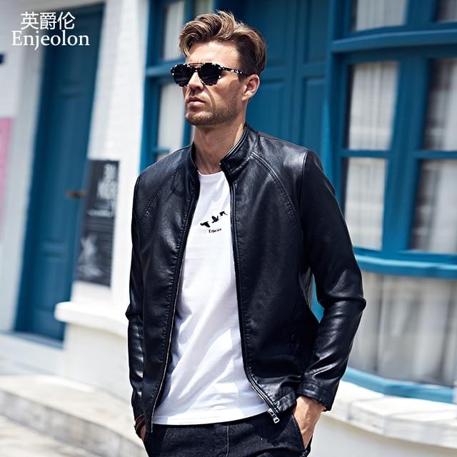 Enjeolon брендовая Новинка 2017 мотоцикл мужской куртка из искусственной кожи человека, мода стоять воротник пальто мужской Повседневное черный Пальто для будущих мам P312