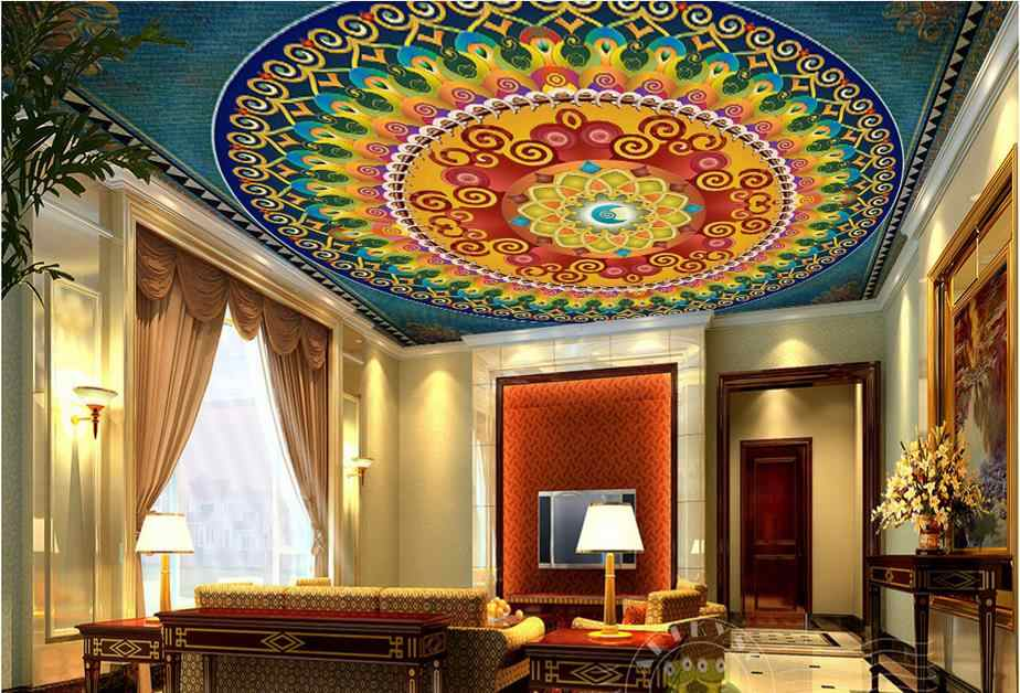 custom 3d ceiling photo Colorful patterns 3d ceiling wallpaper walls 3d wallpaper for ceiling living room wallpaper