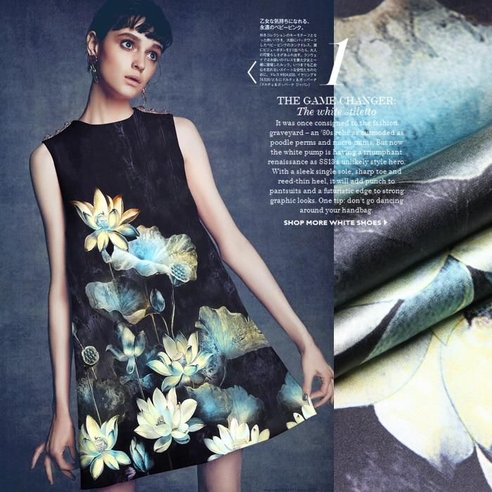 118*120 cm breed 19mm 93% zijde en 7% spandex inkt lotus print stretch zijde satijn stof voor dress shirt kleding cheongsam D688-in Stof van Huis & Tuin op  Groep 1