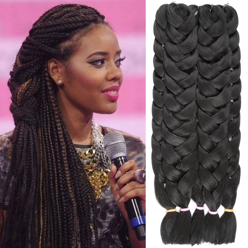 1 Piece Kanekalon Jumbo Braiding Hair Colors 82 165g Black Burgundy Brown Gray Blonde Synthetic Box Extensions On Aliexpress Alibaba