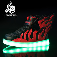 2016 Kids Shoes With LED Lights Children Kids Sneakers With Wing Boys Girls Led Light Up