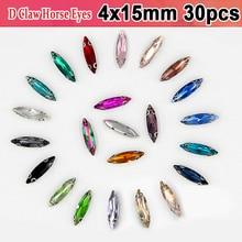 4x15mm D Claw Clear Crystal Evening Dress Decorations Horse Eyes Sew On Crystals Rhinestones