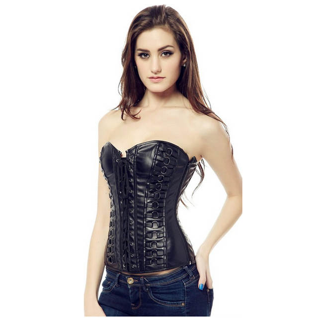5a9175ee844 placeholder Women Leather Corset Steampunk Corselet Waist Trainer Leather  Shapewear Sexy Bustier Overbust Corset Tops Lace up
