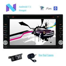 Android 7.1 Car DVD 2 din Radio Video GPS Navigation Head Unit Support Wifi Bluetooth 1080P OBD2+Free map+Front Rear View Camera