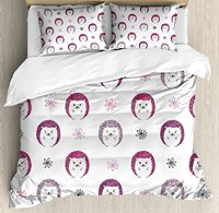 Hedgehog Duvet Cover Set Colorful Spiky Animals with Cute Faces Doodle Flowers Cartoon Style Image 4 Piece Bedding Set