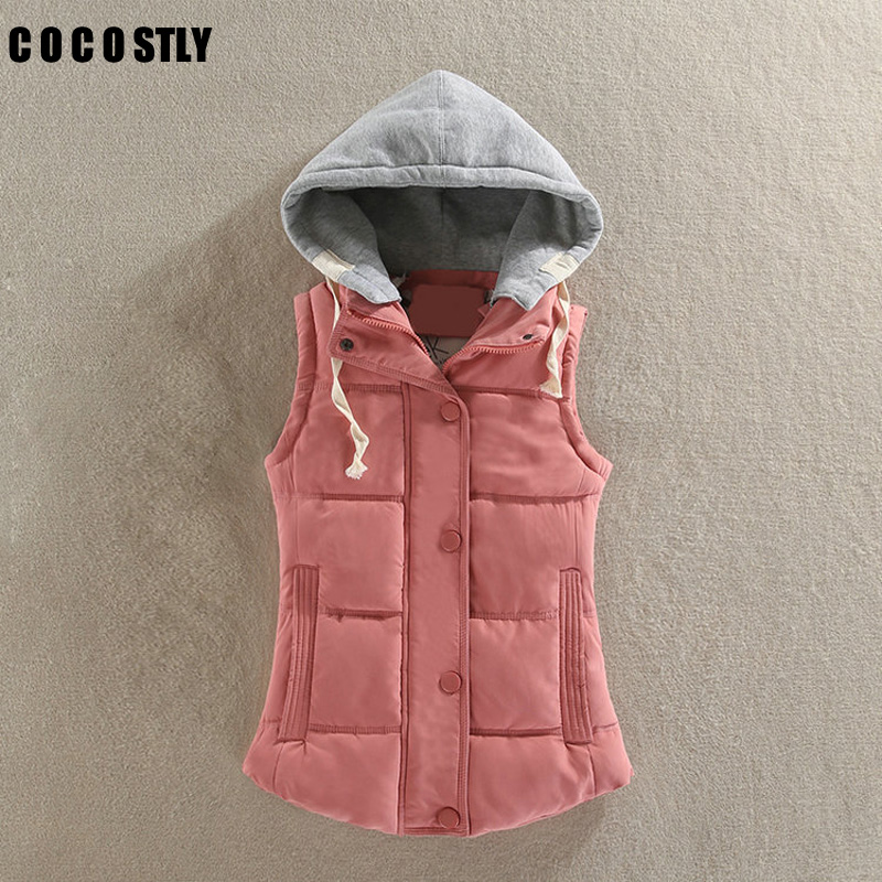 High quality 2017 Hooded Vest Women Autumn Winter Cotton Padded Colete Feminino Veste Femme Gilet Waistcoat Plus Size 4XL