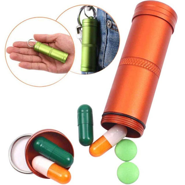 Survival Case Container Outdoor Holder Emergency First Aid Survival Pill Tank Aluminium Alloy Safety first aid Tool