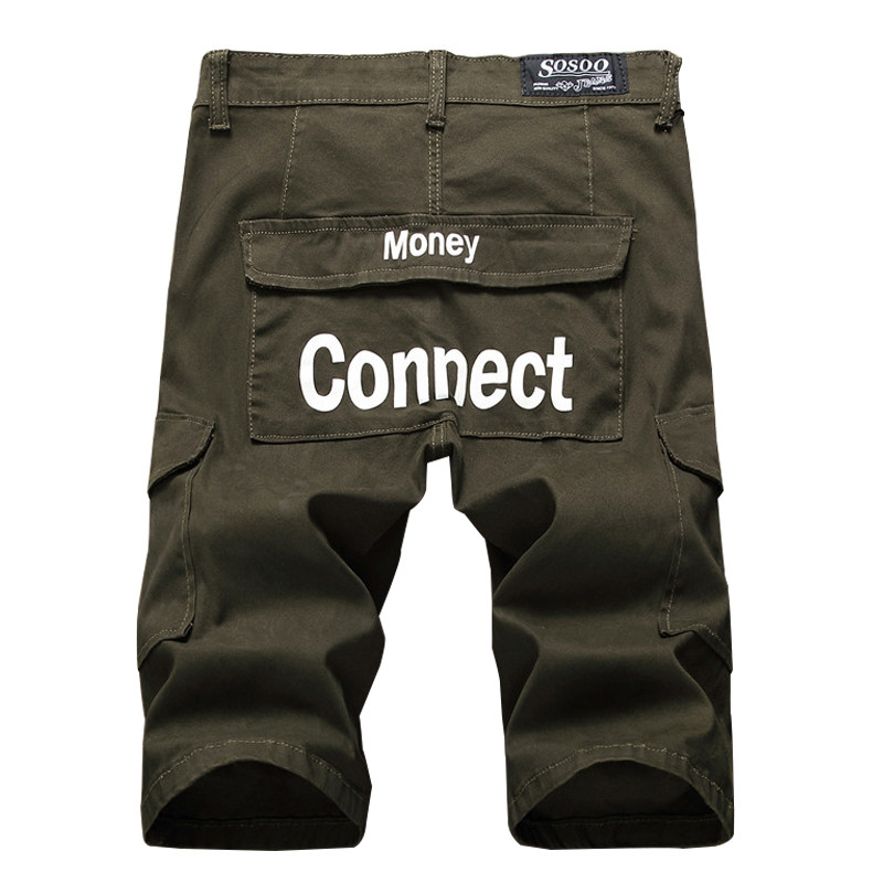 NEWSOSOO Fashion Mens Summer Cargo Denim Shorts Casual Tactical Short Jeans With Multi Pockets Letter Printed Army Green Black