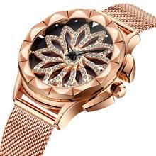 Дизайн с вращением циферблата Модные женские розовые с золотыми цветами и стразами Роскошные наручные часы повседневные женские кварцевые часы Relogio Feminino