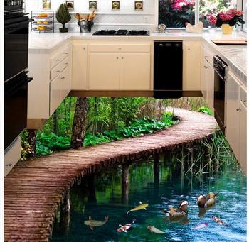 Modern özel 3d Kat Köprü Su Banyo 3d Kat üç Boyutlu Boyama Kendinden