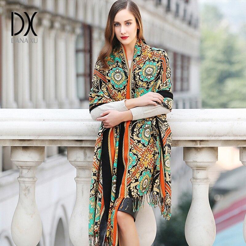 Mode hiver écharpe pour les femmes écharpe cachemire chaud Plaid Pashmina écharpe de luxe marque couverture enveloppe femmes écharpes et châles