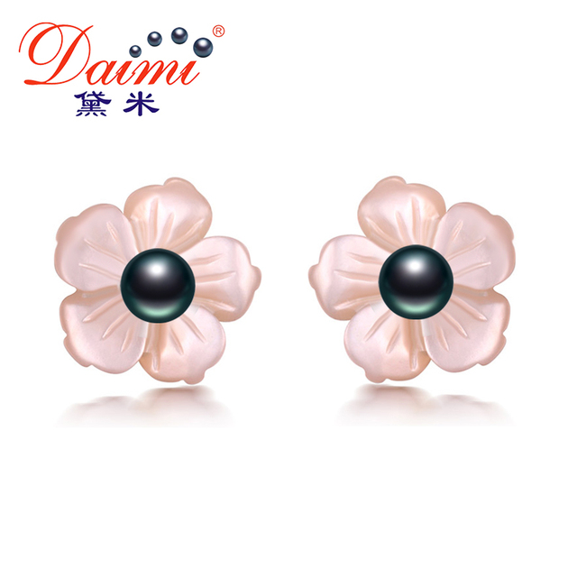 DAIMI Flower Earrings About 3mm Tiny Natural Pearl Earrings 925 Silver Studs Ear
