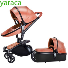 Luxury Baby Stroller With Separate Carrycot Black Frame 360 Degree Rotation Baby Carriage High-landscape Pram For Newborn 2 in 1