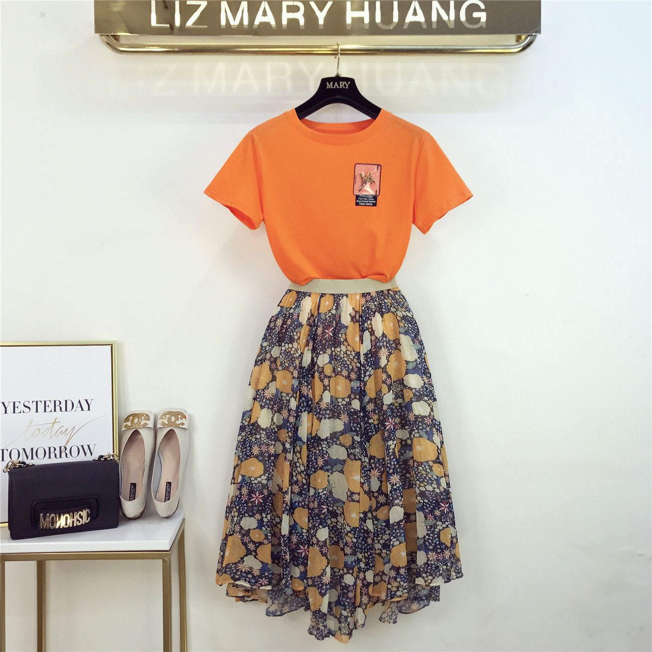 Summer Holiday Beach Dress Set Women 2019 New French T-shirt + Chiffon Fragmented Fairy Skirt Two-piece Suit Bohemian Outfits