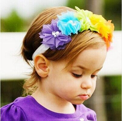 2016 New 1PC Cute Girl Flowers Headband Lace Pearl Hairband Elastic Turban Rainbow Headdress Tiara Hair Accessories