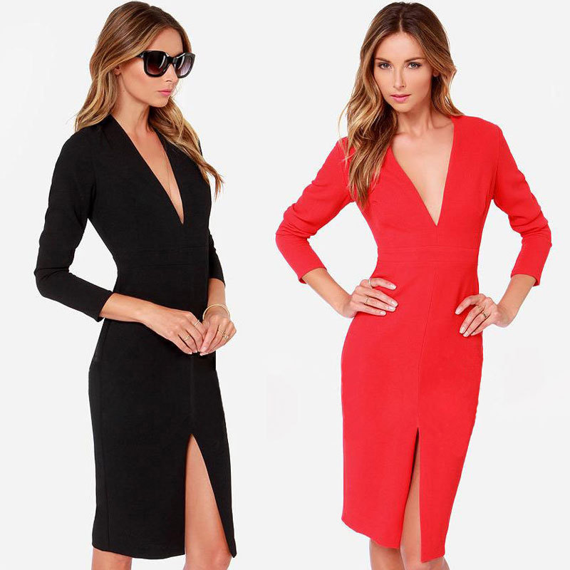 In Fashion Womens Slim O-neck Long Sleeve Zipper Long Cocktail Party Dress Hot Excellent Quality