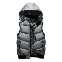Новый зимний жилет с капюшоном Для мужчин шапка съемная теплая Куртки без рукавов Для мужчин s Высокое качество Повседневное мужской жилет пальто Homme Plus Размеры M-5XL