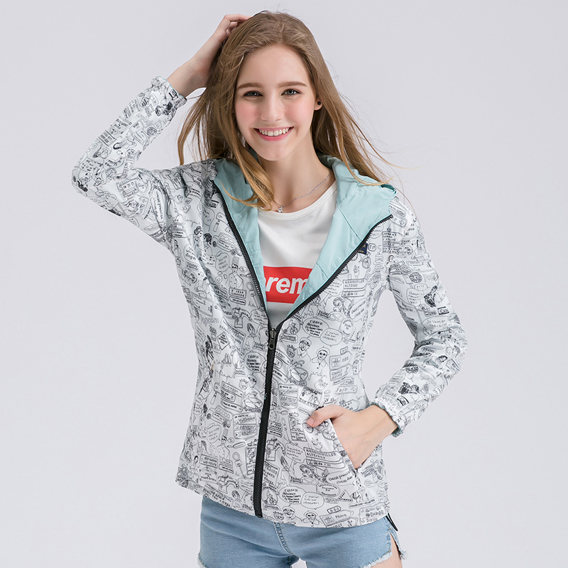 New Fashion Autumn Hooded Womens Windbreak Jacket Big Size Loose Top Basic Coat For Ladies Both Sides Can Wear Outwear Coats in Jackets from Women 39 s Clothing