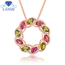 Real Solid 18K Rose Gold Natural Pink Green Tourmaline Wedding Pendant Necklace Luxury Diamond for Mom Colorful Gem Jewelry Gift