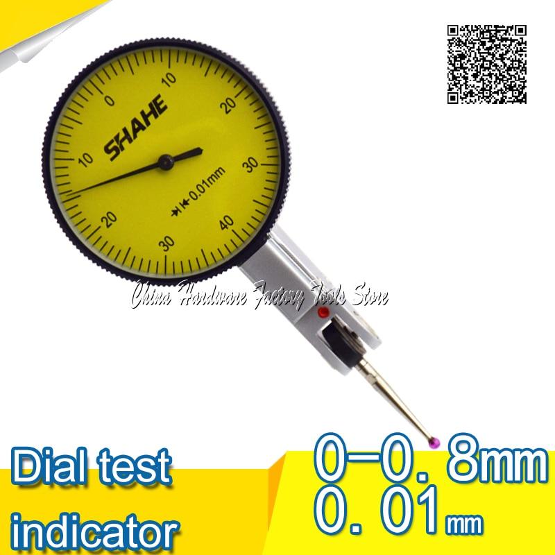 SHAHE 0-0.8mm Lever Dial Test Indicator Precision Dial Indicator dial test indicator gauge guanglu dial indicator 0 0 8mm 0 01mm dial test indicator dial test gauge measurement instrument measure tools