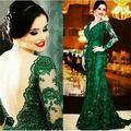 2016 vestido delicado atraente decote sexy plait mop FG7458 verde esmeralda vestido de noite do vestido