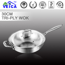 Free shipping 2017 Tri-ply Stainless Steel Wok With Pot Cover Cooking Tools High Class Eco-friendly Kitchen Accessories